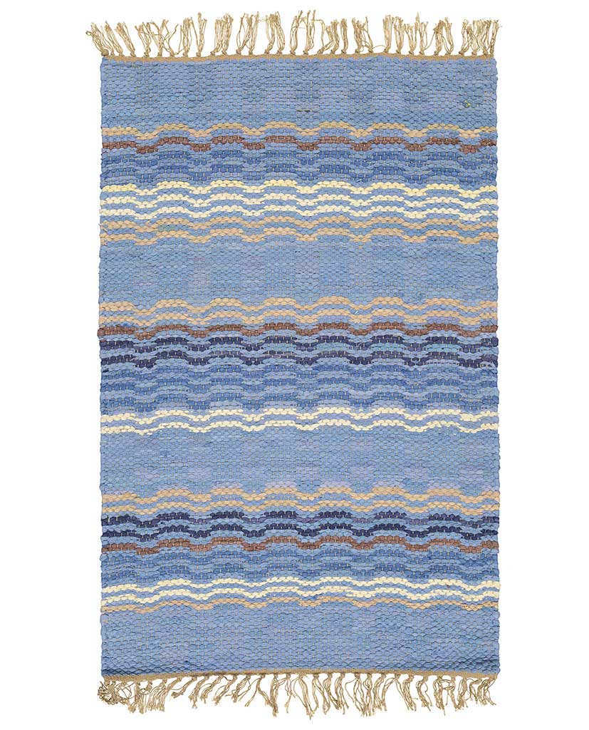 Finarte Laine striped cotton rug in blue