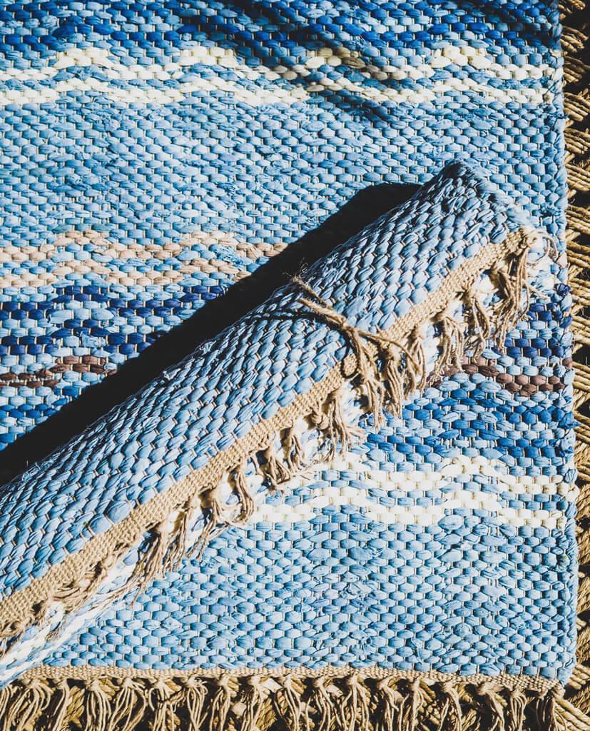 blue traditional handwoven rag rug