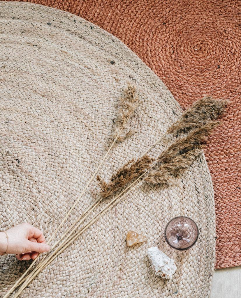 juutti matto pyöreä jute rug round