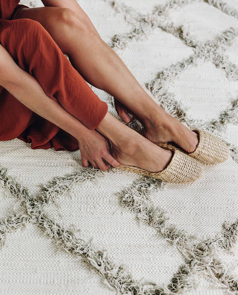 Finarte Tie cotton rug in grey