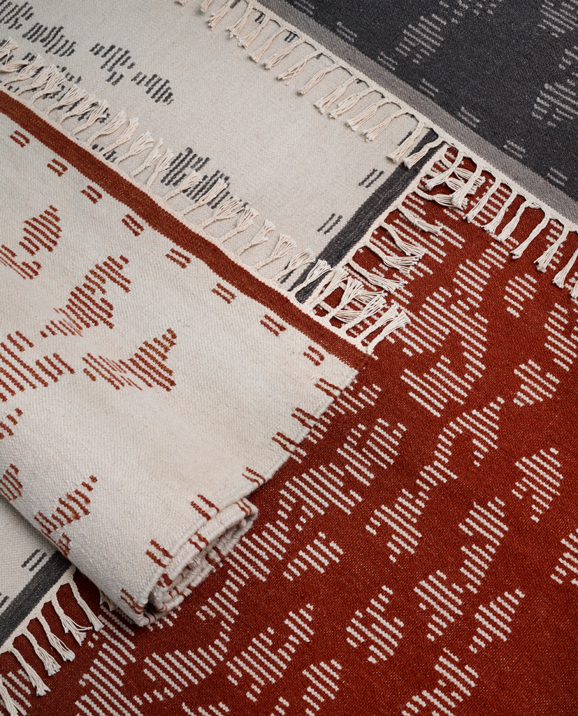 handwoven bohemian wool rug