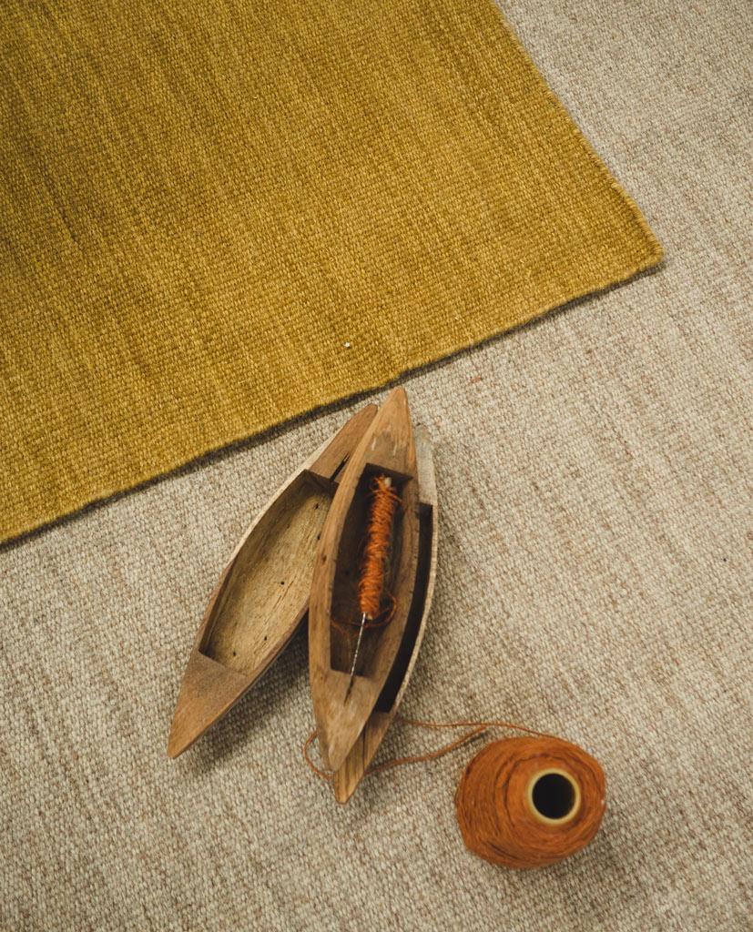 Finarte Norm beige mustard wool rug